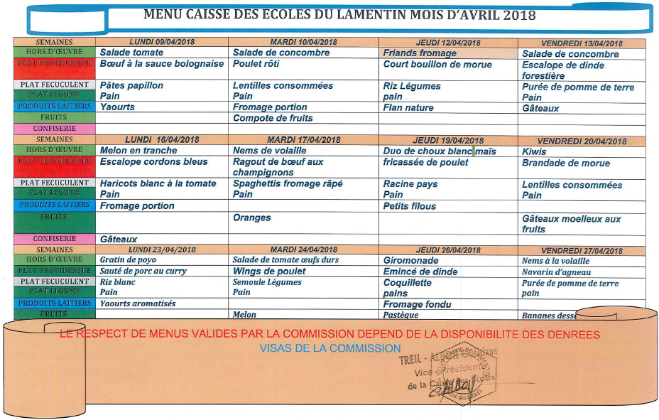 Menu de la restauration scolaire avril 2018 ville de for Adresse piscine schiltigheim