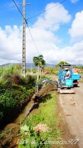 Opération curage route de Ravine Chaude. Février 2018